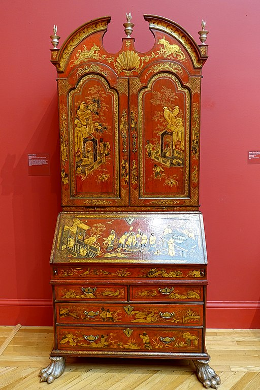 Buraeau-cabinet, England, c. 1730, Japanned wood, brass mounts, silvered finials and feet - California Palace of the Legion of Honor - San Francisco, CA - DSC02832