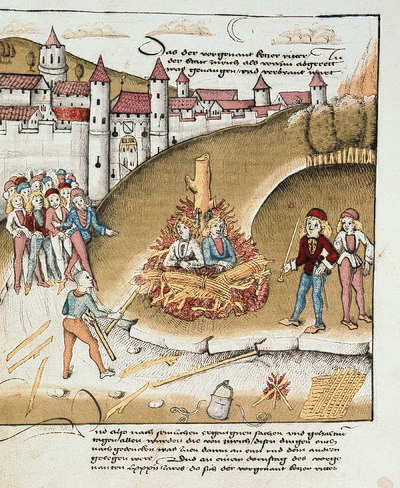 Burning of the accused sodomites outside the walls of Zurich, 1482 (from the Spiezer Schilling chronicle). Burning of Sodomites.jpg
