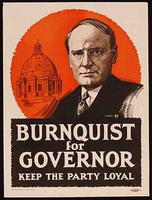 Joseph A. A. Burnquist - 1918 election poster