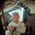 Buzz Aldrin in the Lunar Module during Apollo 11 LM checkout (48322616012).jpg