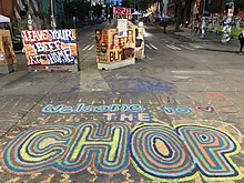 """Welcome to the CHOP"" painted on a street, with additional signs"