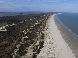 Cumberland Island - Looking North from Dungeness runway.  Kings Bay Naval Submarine Base can be seen in the upper left.