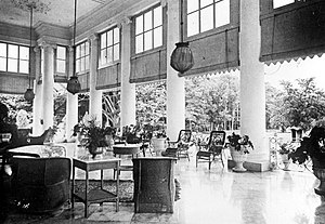 Indies Empire style - Spacious rear gallery of Istana Bogor was used to held social events, a typical feature in Indies Empire style.