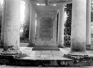 Olivia Mariamne Devenish - The memorial to Olivia Mariamne, Raffles' first wife, erected by him along the Kanarielaan in the National Botanical Gardens (now the Bogor Botanical Gardens). Raffles re-landscaped these gardens, which were established in 1744 in Buitenzorg (now Bogor), West Java.