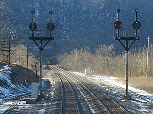 North American railroad signals - Baltimore and Ohio Railroad color position lights on bracket masts at Magnolia, West Virginia