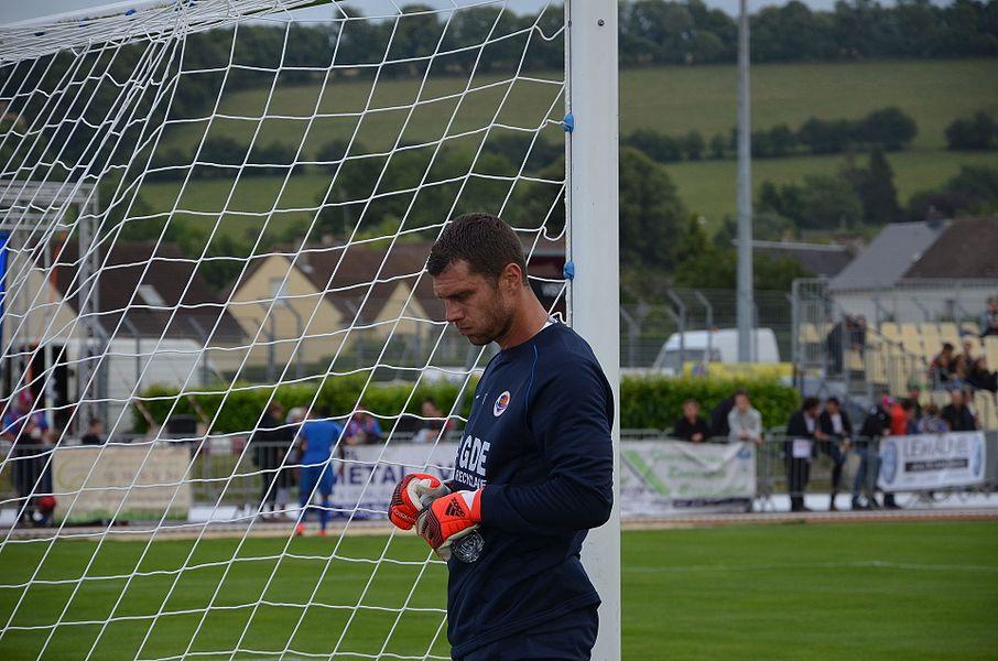 Photographie prise à l'occasion de la rencontre amicale opposant le Stade Malherbe de Caen au Stade rennais, le 9 juillet 2014 au stade Pierre-Comte de Vire. Ici, Rémy Vercoutre.