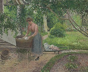 Woman Washing Clothes in the Garden, Éragny