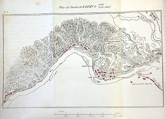 Battle of Dürenstein - An early (1846) analysis of the battle plan shows the Russian troop movements in green and the French troop movements in red.