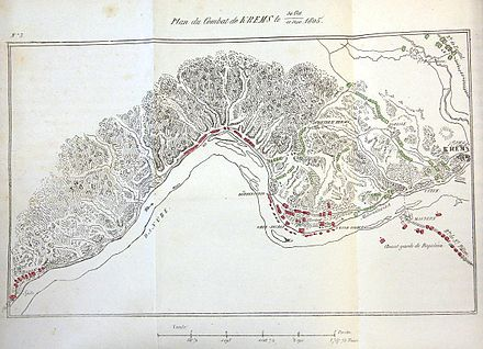 An early (1846) analysis of the battle plan shows the Russian troop movements in green and the French troop movements in red. Campagne1805 Danilevsky Karte3 klein.jpg