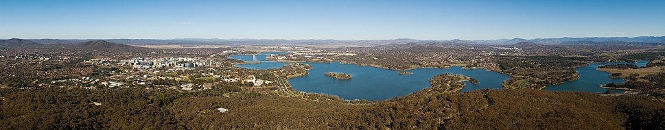 Panorama of Canberra and Lake Burley Griffin set against the backdrop of distant New South Wales, taken from the Telstra Tower