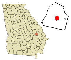 Candler County Georgia Incorporated and Unincorporated areas Metter Highlighted.svg