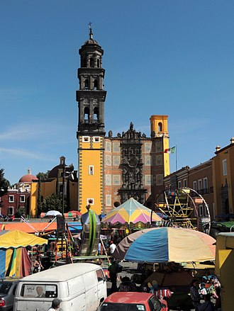 Puebla de Zaragoza is the most populated city of Puebla Capilla de San Francisco Puebla.jpg