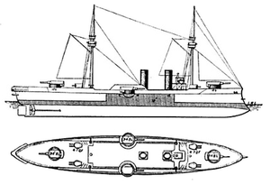 Chilean battleship Capitán Prat - Line-drawing showing the disposition of the armament and the extent of the armored belt