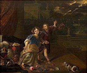Allegorisch portret van twee kinderen