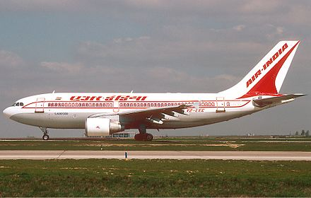 Air India Airbus A310-300. It sold three A300s in March 2009 due to debts Caribjet (Air India) Airbus A310-300 Durand.jpg