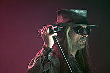 Carl McCoy, lead singer of Fields of the Nephilim. Photograph taken at Agra Hall, Leipzig, Germany at WGT 2008.