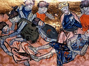The Song of Roland - Charlemagne finds Roland dead (14th-century miniature).