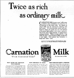 Carnation (brand) - Newspaper ad for Carnation Evaporated Milk, 1921