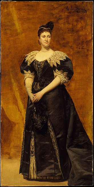 The Four Hundred (1892) - Portrait of Mrs. Astor by Carolus-Duran, 1890.  This painting was placed prominently in Mrs. Astor's house; she would stand in front of it when receiving guests for receptions. Today, it is held by the Metropolitan Museum of Art.
