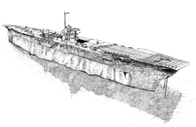 Line drawing of aircraft carrier sitting upright on the seabed.