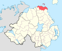 Location of Cary, County Antrim, Northern Ireland.