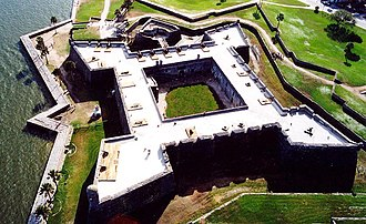 Colonial history of the United States - The Castillo de San Marcos, built to defend Spanish St. Augustine, Florida. Construction began in 1672.