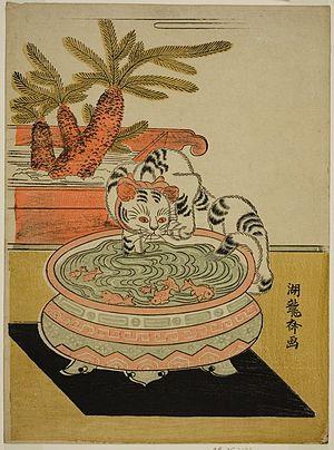 English: Cat fishing in fishbowl Measurements:...