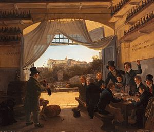 Franz Ludwig Catel - Crown Prince Ludwig in the Spanish Wine Tavern in Rome