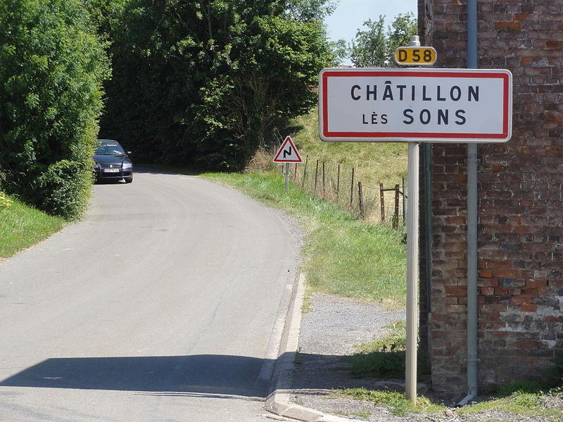 Châtillon-lès-Sons (Aisne) city limit sign