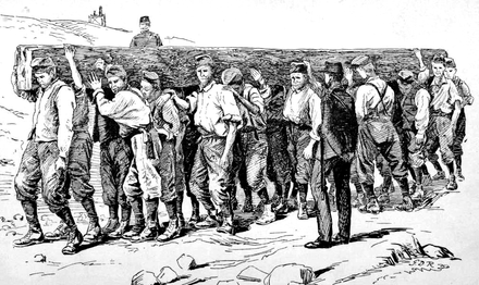 1894 illustration of chain gang performing manual labor Chain gang illustration.png