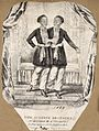 Chang and Eng the Siamese twins, in an oriental setting. Lit Wellcome V0007370.jpg