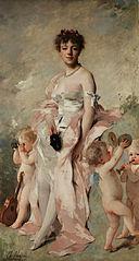 Jeune Femme en robe de bal aux putti
