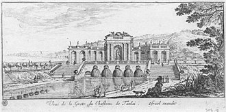 """Château de Tanlay - Le Muet's """"Grotte"""" etched by Israel Silvestre not long after its completion"""
