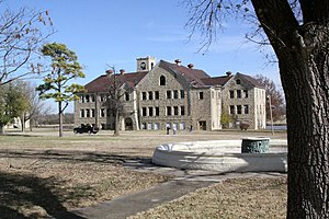 Chilocco Indian Agricultural School - One of the abandoned buildings at Chilocco Indian Agricultural School, a school for Native Americans that operated from 1884 to 1980 located approximately 20 miles north of Ponca City, Oklahoma.