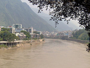 Salween River - Town of Liuku on the Salween (Nu) in Yunnan