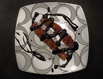 Bacon mania - Bacon drizzled with a melted chocolate bar, a form of chocolate-covered bacon
