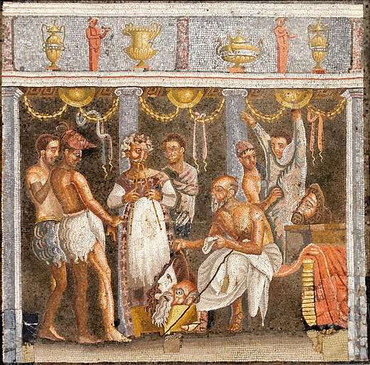 All-male theatrical troupe preparing for a masked performance, on a mosaic from the House of the Tragic Poet Choregos actors MAN Napoli Inv9986.jpg
