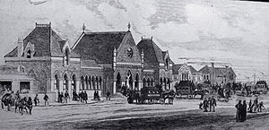 Christchurch Railway Station (New Zealand) - Christchurch railway station (1877–1959) in Gothic architecture