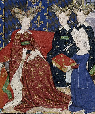 Isabeau of Bavaria - Queen Isabeau receiving Christine de Pisan's Le Livre de la Cité des Dames, c 1410-14. Illumination on parchment, British Library