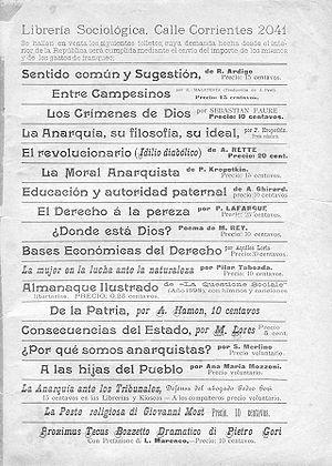 Contratapa deCiencia Social(1898), con la publicidad de laLibrería Sociológicade Fortunato Serantoni.