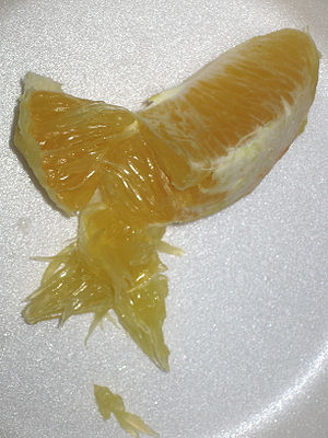 Juice vesicles - A segment of an orange that has been opened to show its pulp (juice vesicles).