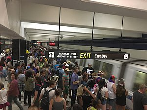Civic Center/UN Plaza station - BART crowds at Civic Center station after Pride