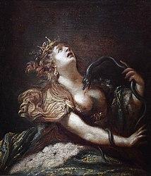 Claude Vignon: Cleopatra killing herself