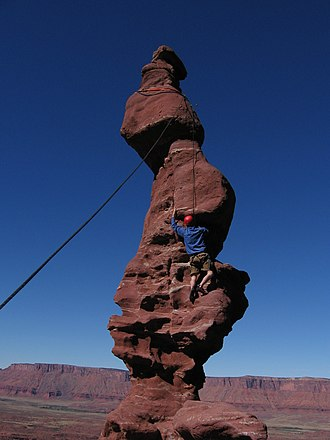 Fisher Towers - Image: Climber on the Corkscrew