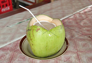 Coconut water - A young coconut, ready to drink.