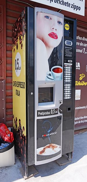 Coffee vending machine - A coffee vending machine in Romania