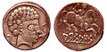 Coins of Arsaos in Navarre Spain 150BCE 100BCE Roman stylistic influence.jpg