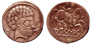 Vascones - Coins of Arsaos, Navarre, 150-100 BC, showing Roman stylistic influence. British Museum.