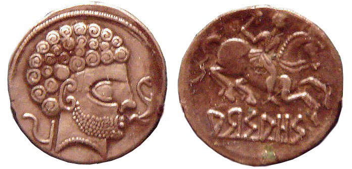 Coins of Arsaos in Navarre Spain 150BCE 100BCE Roman stylistic influence