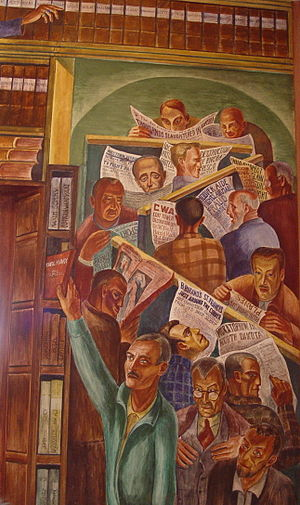 """Bernard Zakheim - Part of Zakheim's """"Library"""" (1934). The man in green is reaching for a copy of Marx's Das Kapital, while the newspapers have headlines about contemporary art and labor issues."""